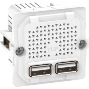 Fuga 2 x USB lader, 2,1A, 1 modul, uden afdækning